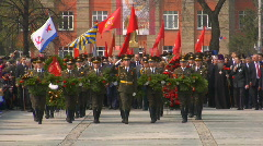 Victory Day Parade 2009. Solemn putting on of wreaths. Stock Footage