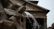 Stock Video Footage of Pantheon in Rome,  Piazza della Rotonda Fountain and Pigeon