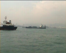 Hong Kong freighters - stock footage