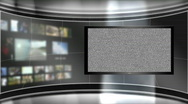 HD Virtual TV Studio Set with main monitor Stock Footage