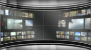 Stock Video Footage of HD Virtual TV studio set with multiple background monitors playing