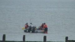 Sea Patrol boat turned round Stock Footage
