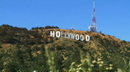 Stock Video Footage of Hollywood Sign, Wide with Foreground