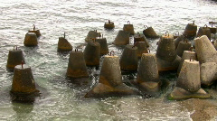 Boulders for strengthening of sea coast. Stock Footage