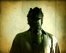 Gas mask - stock footage