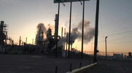 Stock Video Footage of oil refinery, sunrise silhouette