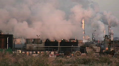 Stock Video Footage of oil refinery, desert sage brush