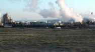 Stock Video Footage of oil refinery, window shot