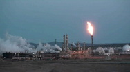 Stock Video Footage of oil refinery, flaring off gas