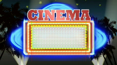 Cinema Marquee With Hollywood BG Loop Stock Footage