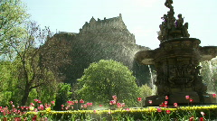 Edinburgh Castle & Fountain Stock Footage
