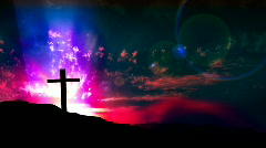 HD Cross on Hill with Smoke Effects Stock Footage