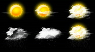 HD set of six weather icons with animated rain & snow Stock Footage