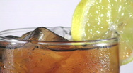 Iced coke with lemon close-up loop - HD  Stock Footage