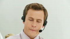 Smart business man giving advices via headset Stock Footage