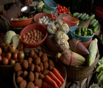 Sleeping vendor at Vegetable market in Vietnam Stock Footage