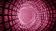 Binary internet tunnel - v6 red. Seamless loop. HD720p. Stock Footage