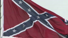 Stock Video Footage of Large Confederate Battle Flag Zoom Out