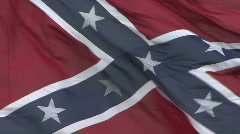 Large Confederate Battle Flag Close Up Stock Footage