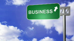 Signpost announcing the Business Way Stock Footage