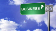 Stock Video Footage of Signpost announcing the Business Way