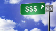 Signpost announcing the Money Way Stock Footage