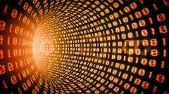 Binary internet tunnel - v1 orange. Seamless loop. HD1080p. Stock Footage