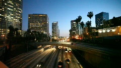 Freeway traffic in downtown Los Angeles Stock Footage