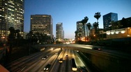 Stock Video Footage of Freeway traffic in downtown Los Angeles