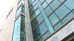 IFSC House Pan to Sculpture Stock Footage