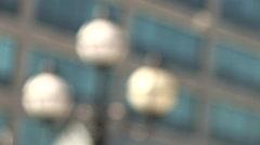 Pull Focus Street Lamps, IFSC, Dublin Stock Footage