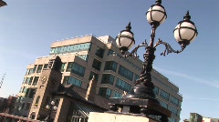 IFSC Building with Street Lamps - stock footage