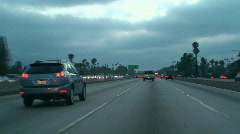 Driving in LA - Front Camera Mount - Speed Up - stock footage