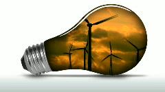 Renewable energy light bulb wind turbines animated - HD Stock Footage