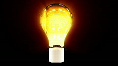 Tree growing inside shiny bulb, green energy concept Stock Footage