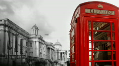 Phonebox red telephone london urban city Stock Footage