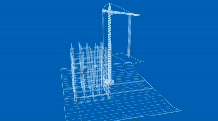 Office/apartment being built on a blueprint paper - v1. HD1080p. Stock Footage