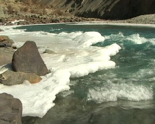 Ice-bound river - stock footage