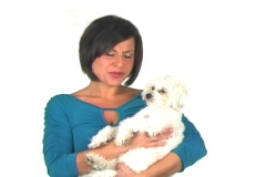 "Beautiful Woman with Dog Says, ""Who says size doesn't matter?"" Stock Footage"