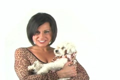 "Beautiful Woman with Dog says, ""You animal"" Stock Footage"