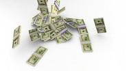 Falling 100-dollar bill bankrolls. 720p. Stock Footage