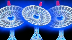 Moving 3d Satellite dishes Stock Footage