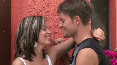 Portrait Of The Young Lovers Against The Wall Stock Footage
