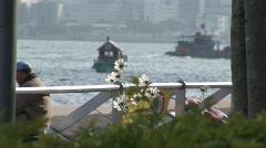 Hong Kong - Sunset Skyline Boats Stock Footage