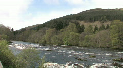 Highland River With Forest & Hills - Scotland Stock Footage
