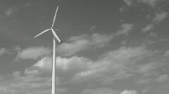 Black and white single windmill Stock Footage