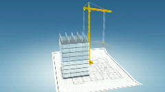 Timelapse of crane building office - v1. HD1080p. Stock Footage