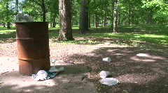Trash Overflowing in Park Stock Footage