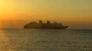 Cruise ship sunset Stock Footage