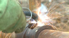 Construction, welding pipe in the field, #3 Stock Footage